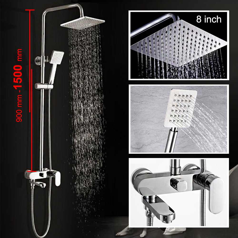 Bathroom Shower Set 8 10 12 Inch Rain Shower Head Bath Shower Mixer With Hand