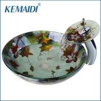 KEMAIDI US New Bathroom Art Round Washbasin Tempered Glass Vessel Sink Hand Painting Wash Basin With