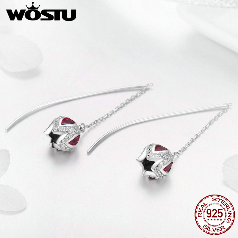 WOSTU Spring Collection 925 Sterling Silver Tulip Story Drop Earrings For Women Anniversary Delicate Jewelry Best Gift DXE504