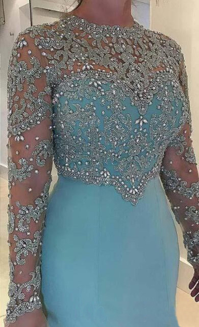 Vintage Mermaid Mother Of The Bride Evening Dress Long Sleeve Beads Crystal Lace Appliqued Plus Size Satin Bridal Formal Dresses 1
