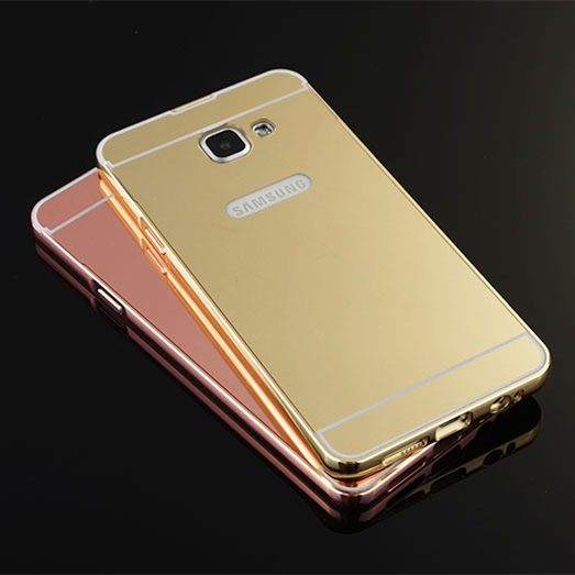 For Samsung Galaxy A9 A9000/A910 SM-A9100 Plating Mirror Aluminum Metal Bumper + Acrylic Alloy Plastic Back Phone Cases Cover