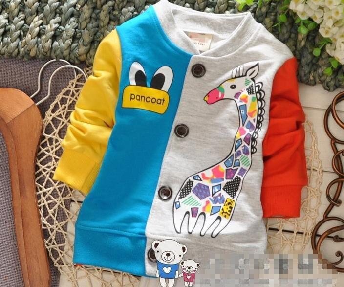 (1 Teile/los) 100% Baumwolle 2018 Cartoon Farbe Giraffe Baby Oberbekleidung