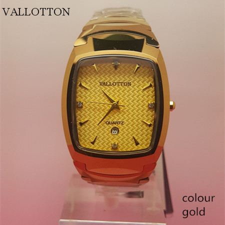 VALLOTTON New Fashion Waterproof Quartz Men And Women Watches Square Style Tungsten Steel Material Couple Watches Hot Sale hot sale time100 fashion multifunction full steel wristwatch tungsten steel strap men quartz waterproof watches w50109g 02a
