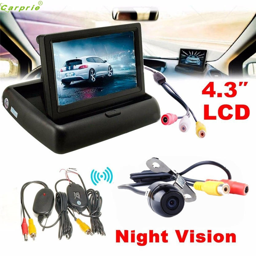 Cls Top Sell Night Vision 4.3 Car Rear View <font><b>Monitor</b></font> Wireless Car Backup Camera Parking System Kit Aug 10