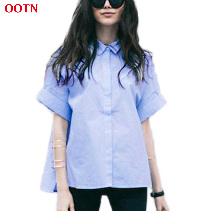 Ootn Button Down Tunic Blouse Women Work Clothes Light