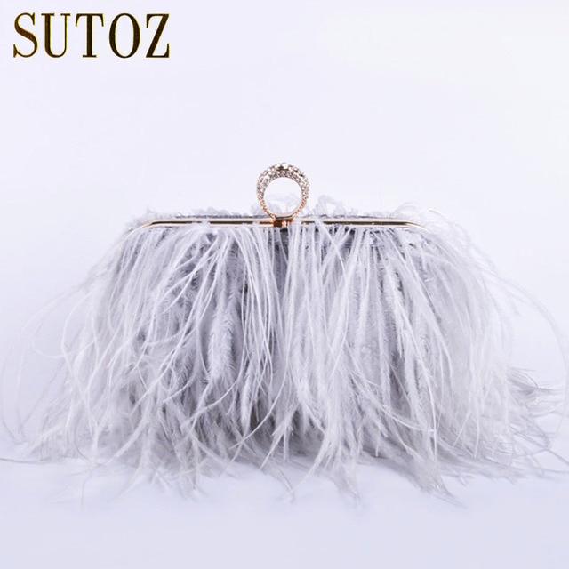 Ostrich Feathers Handmade Clutch Evening Bags Women S Pouch Purse Lady Handbags Diamond Luxury Party Messenger