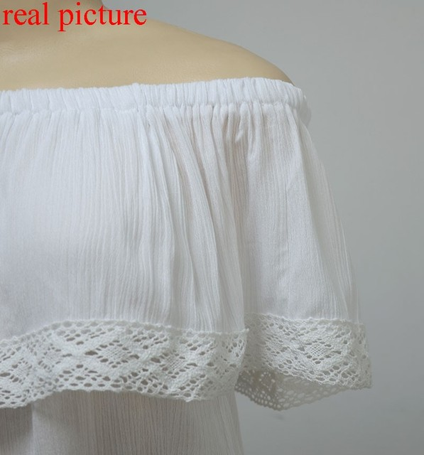 summer 2017 bohemian white crop top for women off shoulder lace splice t shirt camisetas y tops cuello slash women clothing sale