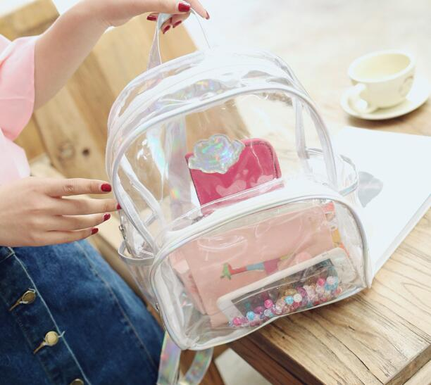 2018 New Transparent Backpack Women Silver Hologram Laser Backpack  Holographic Backpack Multicolor Schoolbag