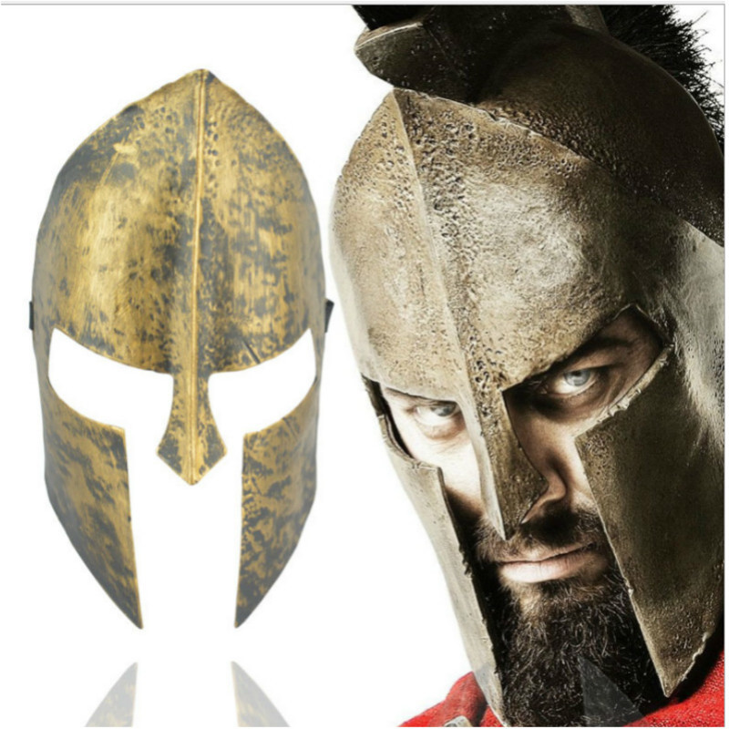 Movie Greek 300 Spartan Warrior Helmet Mask Gold Cosplay Film Costume Carnival Party Halloween Theme Masquerade Mask Prop
