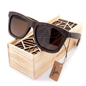 BOBO BIRD Original Wooden Men Sunglasses Casual Polarized Women Sun Glasses Black Framed With Gift Box gafas de sol mujer 4