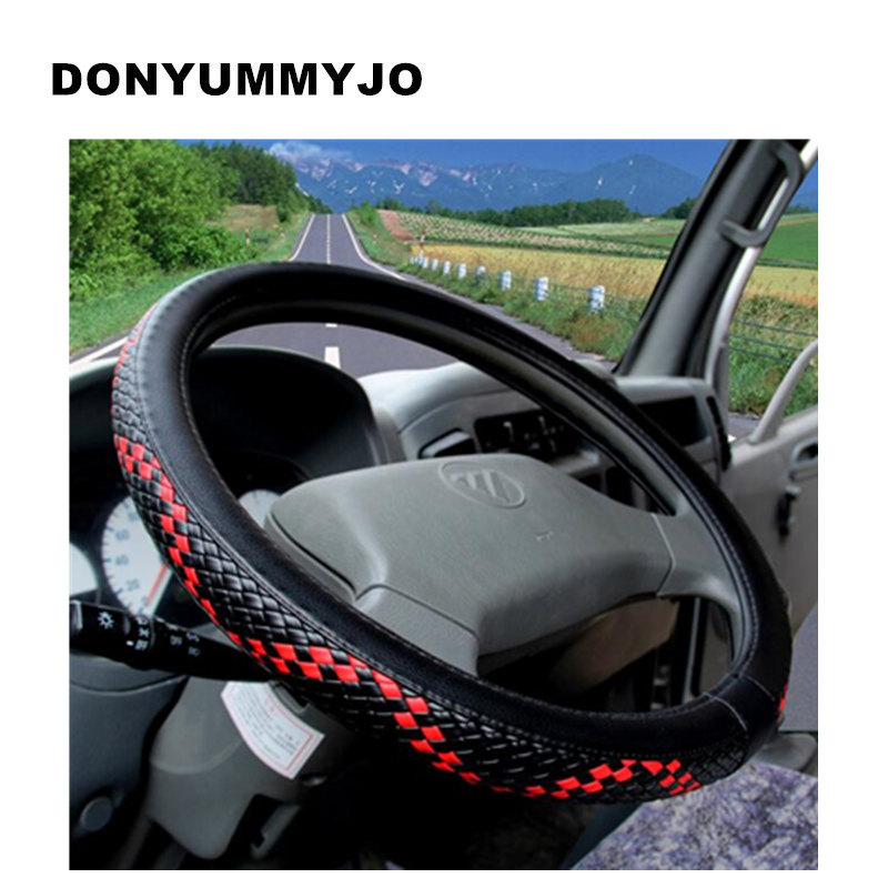 DONYUMMYJO 36-50cm Woven Leather Steering Wheel Covers for Car Bus Truck, 36 38 40 42 45 ...