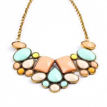 collier Resin Gem Choker Statement Necklaces gioielli Link Chain Necklace collares Bijoux Necklace For Women Maxi Necklace colar Ожерелье
