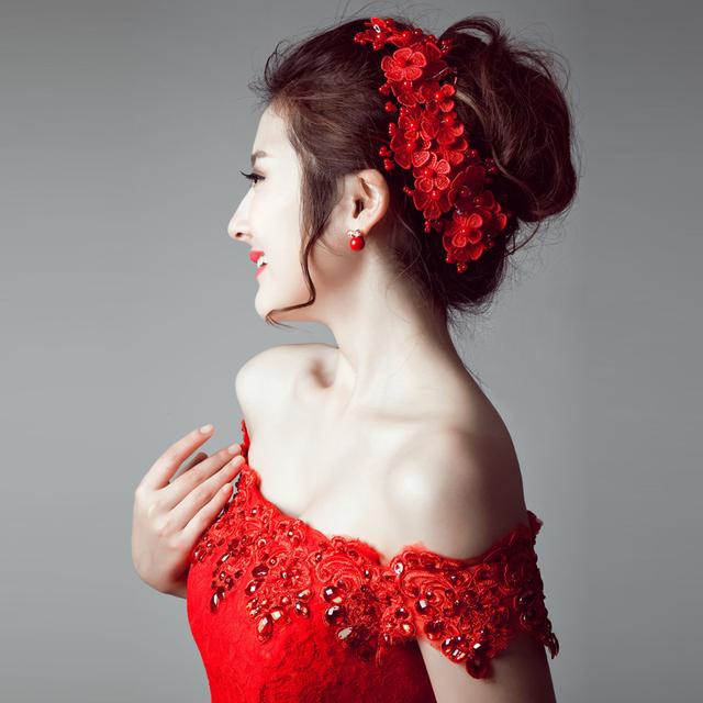 Vermelho Do Casamento Da Flor Acessórios Para o Cabelo Moda Acessório Do Cabelo Do Casamento de Noiva de Renda 2016 Das Mulheres chapéus