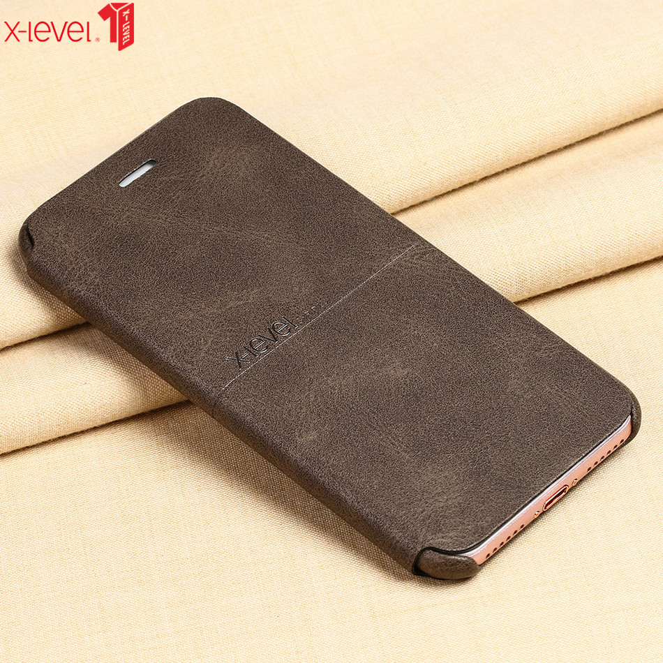 X-Level Luxury Leather Case for iPhone 7 Flip Case Cover Shockproof Business Back Phone
