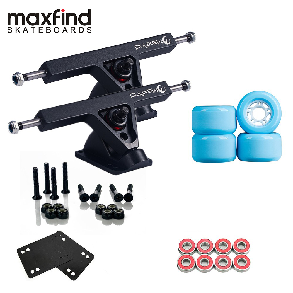 Maxfind 1 Pair 7'' Trucks, 4pcs PU Wheels, 8pcs Bearings And Enough Of Steel Hardware Skateboard Truck Wheel Combo For Longboard