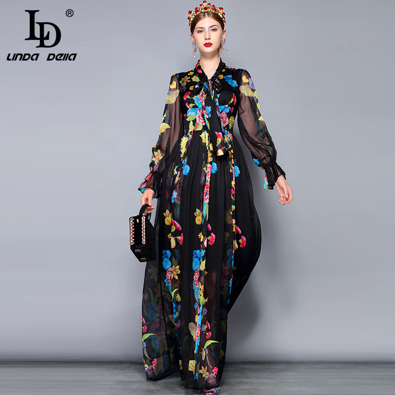 Kadın Giyim'ten Elbiseler'de LD LINDA DELLA Pist Maxi Elbise Artı boyutu kadın Uzun Kollu Yay Yaka Vintage Çiçek Baskı Şifon Parti Tatil uzun elbise'da  Grup 2
