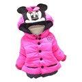 Ropa de invierno 2016 nuevo otoño y el invierno ropa de los niños chaqueta de algodón caliente de 1-3 años de edad, niña diseño de la historieta de la chaqueta gruesa