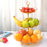 Metal Round 3 tier Large Capacity Modern Kitchen Countertop Wrought Iron Wire Basket For Fruit, Vegetables