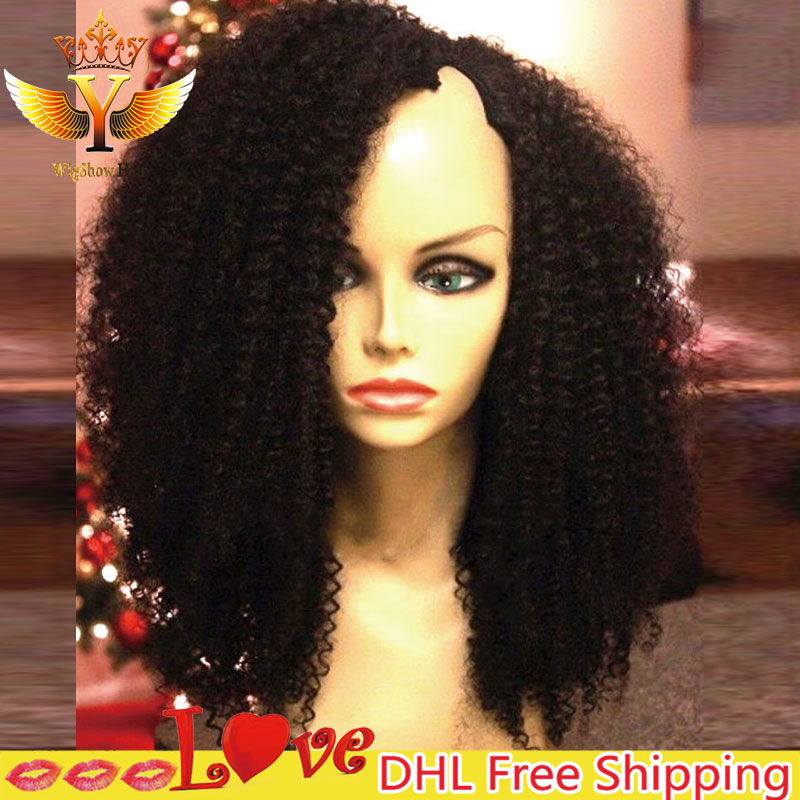 Cheap Afro Kinky Curly U Part Human Hair Wigs For Black