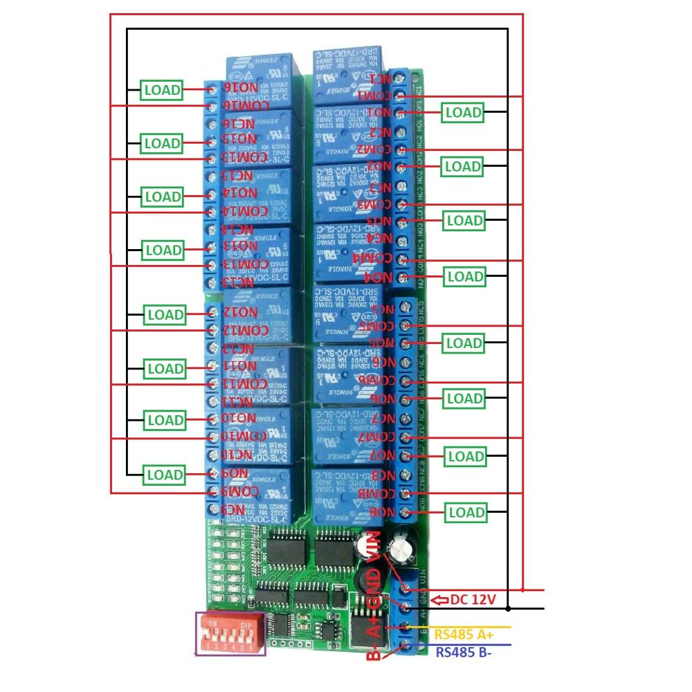 16 Channel Dc 12v Rs485 Relay Module Modbus Rtu 485 Remote Control Garage Door With Wiring Diagram Plc 2 1 110v Or Ac 85 265v Circuitwiring Belownoteif Not Load Need Another Power Supply May Be Led Lights Fans