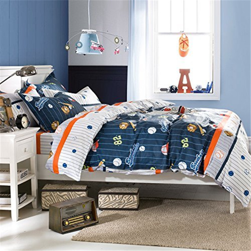 FADFAY Cotton Kids Boys Baseball Bedding Set Cartoon Duvet Cover Sets Full Size Children Comfortable Bed Sheets 2 Pillowcases In From Home