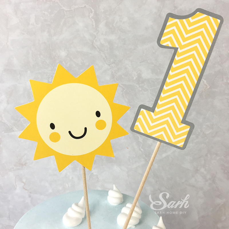 3 Sets Clouds 1st Sun Cake Topper Cake Decoration for New born Baby ...