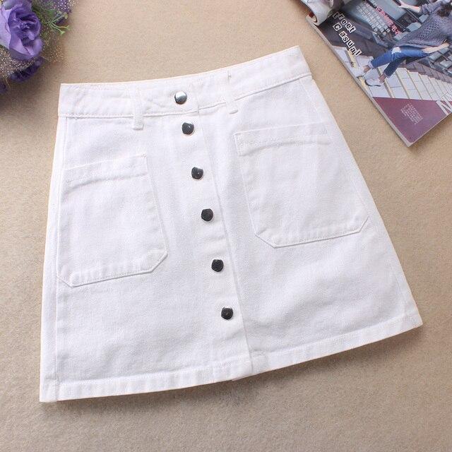 9f9766ef20 Nova 2019 Mulheres Moda Verão Saias Jeans de Cintura Alta Botão Frontal  Mini Branco Saias Uma