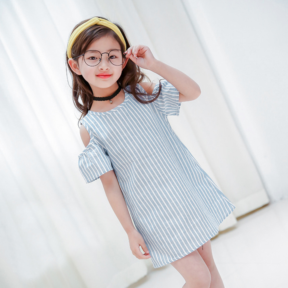 HTB1gwVAXLWG3KVjSZFgq6zTspXa7 Summer Girls Tassel Flying Sleeve Dresses Stripe Cute Kids Party for girls Princess Dress Tops Clothes
