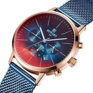 Image 5 - Nagroda nowa moda chronograf mężczyźni Top marka luksusowe kolorowe zegarek wodoodporny zegarek sportowy mężczyzn zegar ze stali nierdzewnej