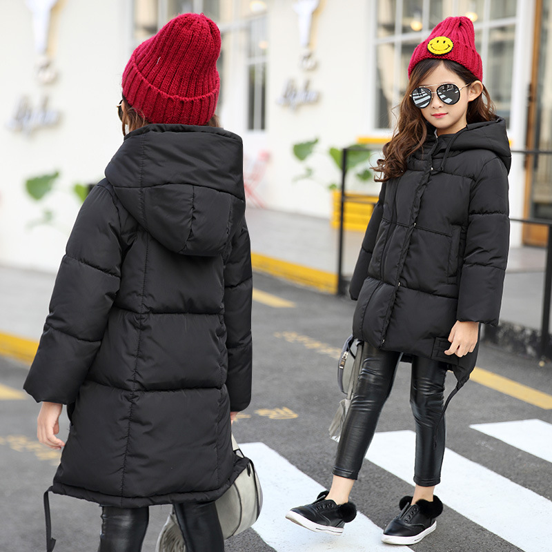 Kids Parkas Winter hoodies for kids Warm overcoat for girls Thick padded jacket Winter clothes Black thicken clothing Age 5-13y