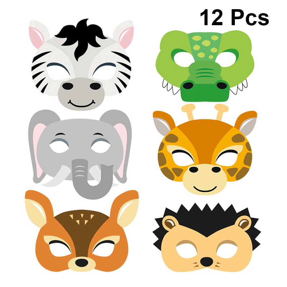 12pcs Mask Birthday Party Supplies Paper Animal Masks Cartoon Kids Party Dress Up Costume Zoo Jungle Mask Party Decoration