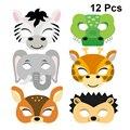 12 шт., бумажные маски в виде животных