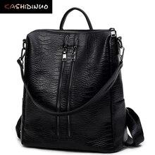 KASHIDINUO Brand Vintage Women Leather Backpacks Alligator Casual Ladies Student School Bags Female Shoulder Women  Back Pack