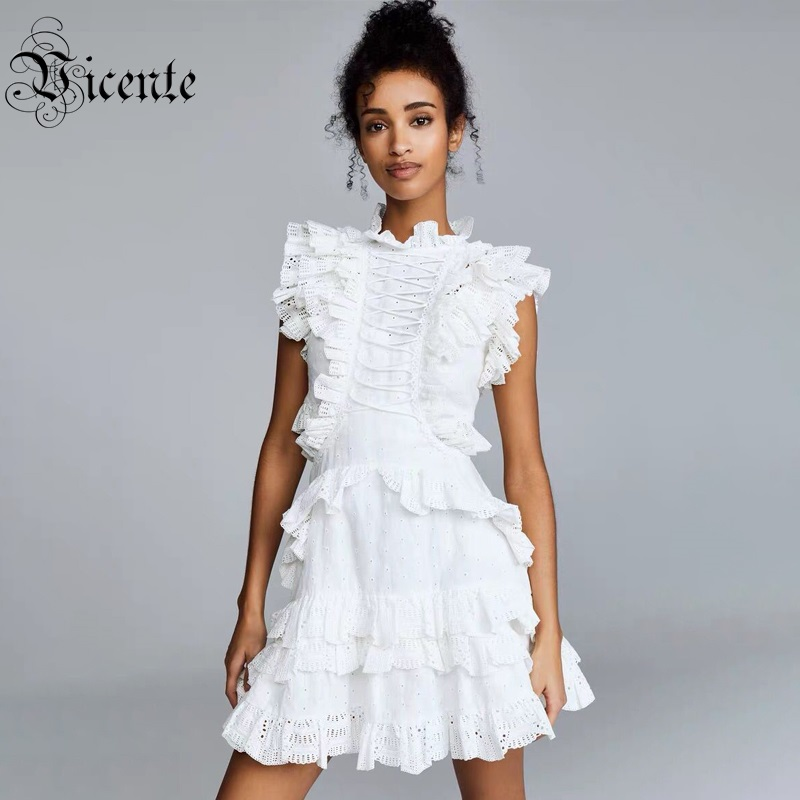 Vicente Hot 2019 A Line White Dress Ruffles Lace Up Design Sexy Hollow Out Sleeveless Celebrity