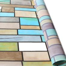 Funlife 90x200cm Stained Window Film Privacy Sticker Removable Decorative Tint Heat Control Colored Brick