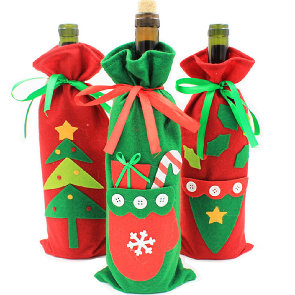 10 Pcs / Lot Christmas Decoration Red Wine Bottle Cover Bags Christmas  Dinner Table XMAS Decorations