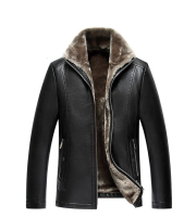 KUEZLE FreeShipping Hot Sale Winter Thick Leather Garment Casual Flocking Leather Jacket Men S Clothing Leather