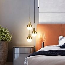 Post-modern Golden LED pendant lights Copper hanging lamp Glass ball suspension luminaire dining living room bedroom loft deco