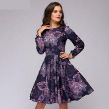 ea9de2e371216 Femmes impression A-ligne robe Élégante violet couleur volants à manches  longues robe courte Nouvelle automne hiver vintage vest.