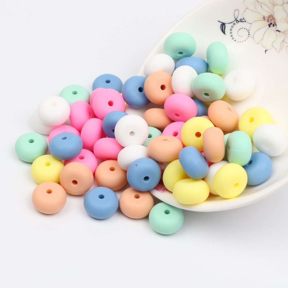 TYRY.HU 40pc Silicone Beads 14mm Light Color Baby Teething Beads Food Grade Nursing Silicone Toy Pacifier DIY Accessories