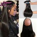 360 Lace Frontal With Bundles 7A Straight Peruvian Virgin Hair 3Pcs Bundles With 360 Frontal Band Lace Closure Natural Hairline
