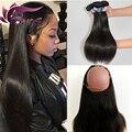 360 laço frontal com feixes 7a peruano reta virgem do cabelo 3 pcs bundles com 360 banda frontal lace closure naturais da linha fina