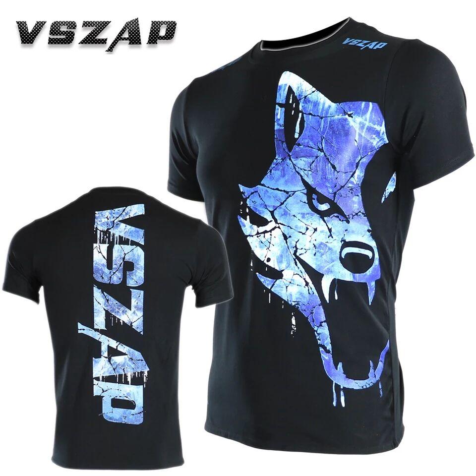 Vszap Short Sleeve T-shirt Fitness Muay Thai Mma T Shirts Combat Blue Freeze Wolf Fight Movement Kickboxing Mma Jerseys Boxing
