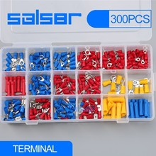 300pcs Electrical Wire Crimp Terminals Assorted terminales Set Kit Insulated Terminator Spade Butt Connectors Red Yellow Blue tsleen 400pcs box male female spade crimp terminals fully insulated electrical connectors butt made of copper pvc