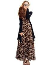 Neue Mode Frauen Vintage Style V-ausschnitt Sexy Leoparden Chiffon Langen Maxi Cocktail Party Kleid Strandkleid Cocktail Party Kleid