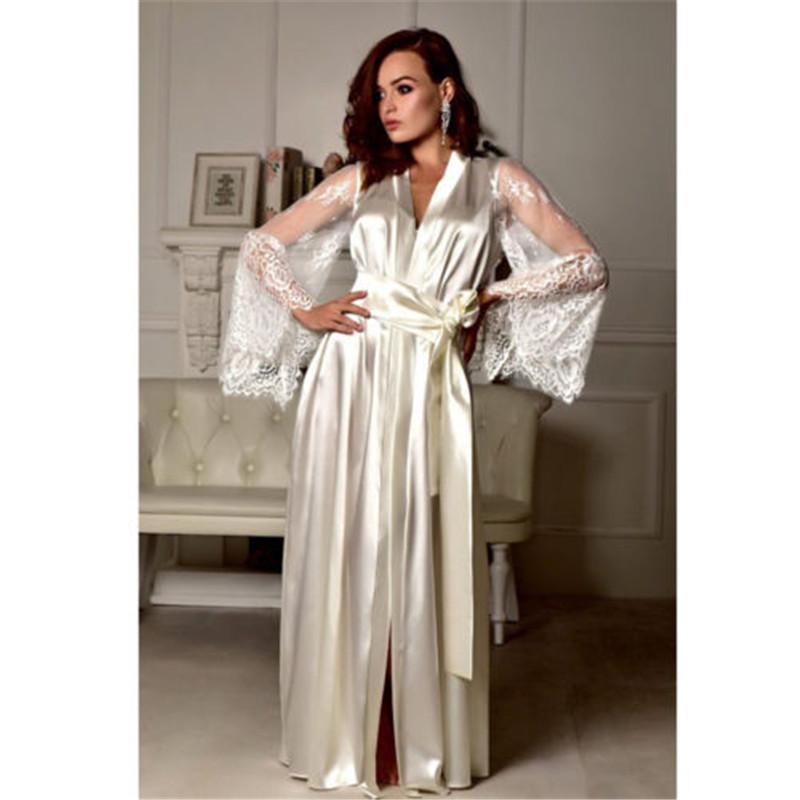 f73fa918f7 New Lingerie Sleepwear Satin Lace Sexy Women Sissy Long Sleeve Loose  Bathrobe Kimono Babydoll Nightwear Robe Deep V Bathrobe