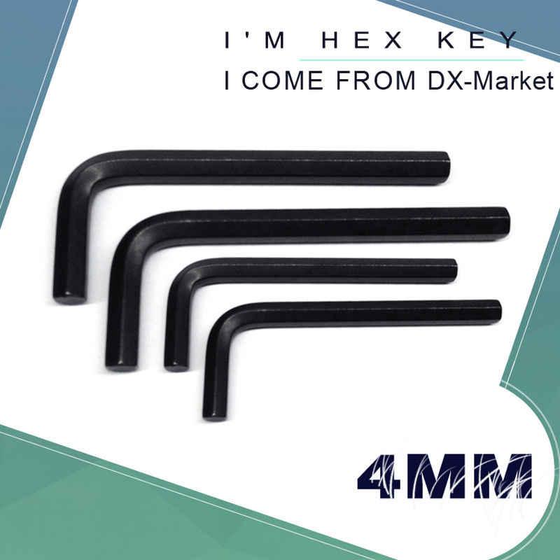 Set of 5 Metric Short Arm M4 Allen Key Black Steel 4mm Hex