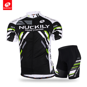 NUCKILY Summer Short Sleeve Bicycle Jersey With Foam Pad Short Black block Design Cycling Set For Men MA004MB004