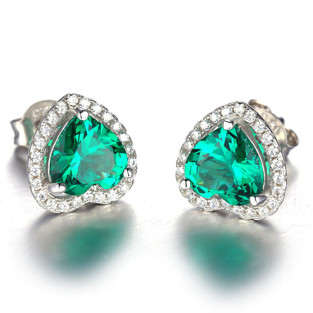 JewelryPalace Heart Of Ocean 2.2ct Green Russian Nano Created Emeralds Love Forever Halo Stud Earrings Real 925 Sterling Silver