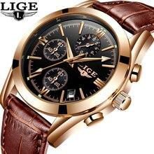 LIGE Hombres Reloj Deportivo Reloj de Cuarzo de Cuero de Moda Para Hombre Relojes de Primeras Marcas de Lujo reloj del Negocio Impermeable Relogio masculino